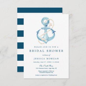 nautical navy bridal shower invitation card