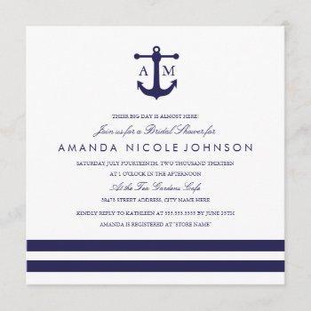 nautical navy bridal shower invite