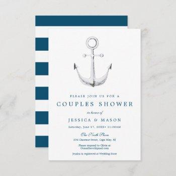 nautical navy couples shower invitation card