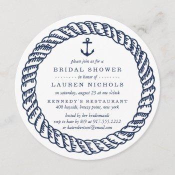 nautical navy rope and anchor bridal shower invitation