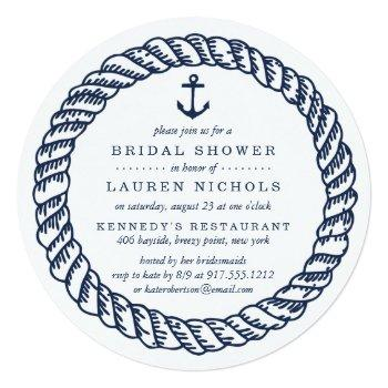 nautical navy rope and anchor bridal shower invitation