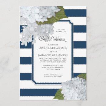 nautical navy white hydrangea modern bridal shower invitation