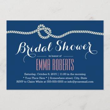 nautical rope knot elegant bridal shower invitation