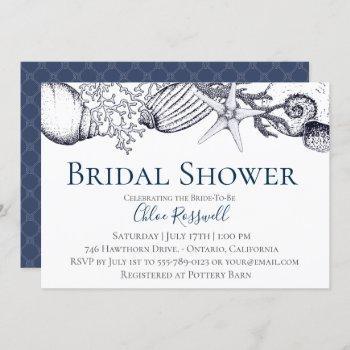 nautical seashell bridal shower invitation