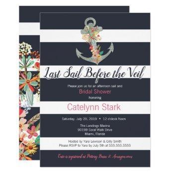 nautical stripe floral anchor bridal shower invitation