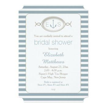 nautical striped monogram beach bridal shower invitation