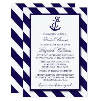 nautical stripes & navy blue anchor bridal shower invitation