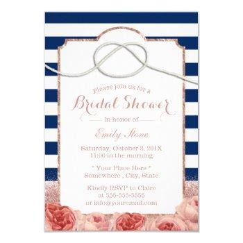 nautical stripes rose gold floral bridal shower invitation
