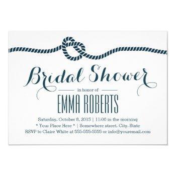 nautical tying the knot navy bridal shower invitation