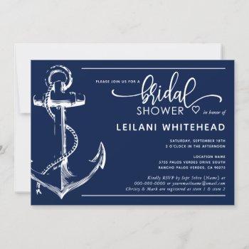 nautical white anchor bridal shower navy invitation