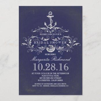 navy anchor nautical bridal shower invite