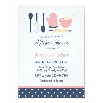 navy and blush bridal shower invitation