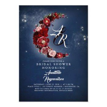 navy and burgundy floral moon bridal shower invitation