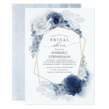 navy and dusty blue floral modern bridal shower invitation