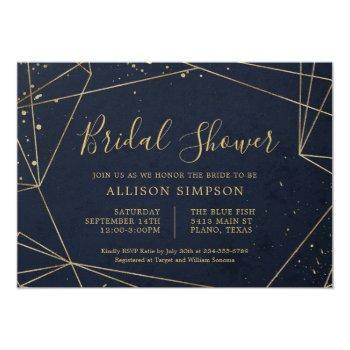 navy and gold geometric elegant bridal shower invitation