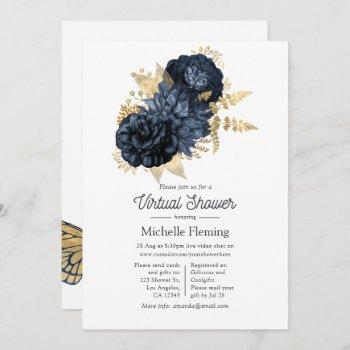 navy and gold vintage shabby roses virtual shower invitation