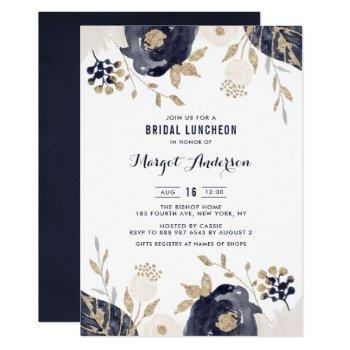 navy and ivory flowers gold foil bridal luncheon invitation