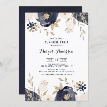 navy and ivory flowers gold foil surprise party invitation