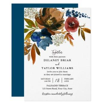 navy and rust watercolor flowers wedding invitation