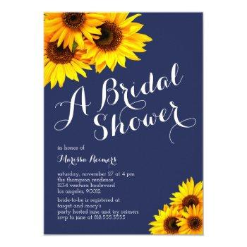navy and yellow sunflowers bridal shower invitation