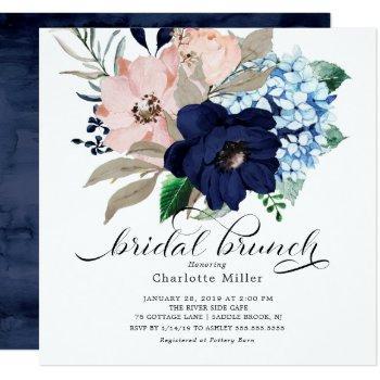 navy blue and blush flowers bridal brunch invitation
