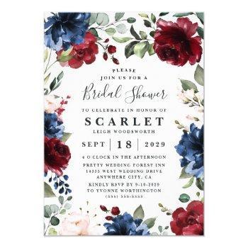 navy blue and burgundy blush pink bridal shower invitation