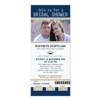 navy blue and gold football ticket bridal shower invitation