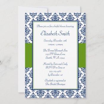 navy blue and green damask bridal shower invitation