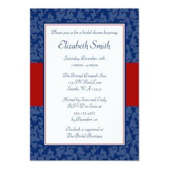 navy blue and red swirl damask bridal shower invitation