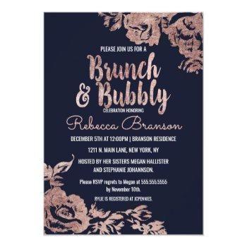 navy blue and rose gold floral brunch and bubbly invitation