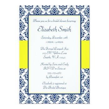 navy blue and yellow damask bridal shower invitation