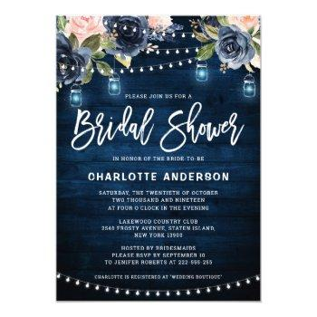 navy blue blush floral string light bridal shower invitation