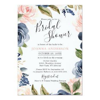 Navy Blue Blush Pink Rose Boho Bridal Shower Invitation Front View