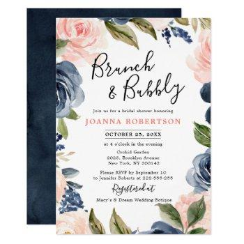 navy blue blush pink rose boho bridal shower invitation