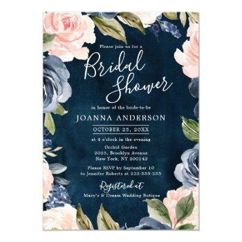 navy blue blush pink rose gold boho bridal shower invitation