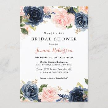 navy blue blush watercolor floral bridal shower in invitation