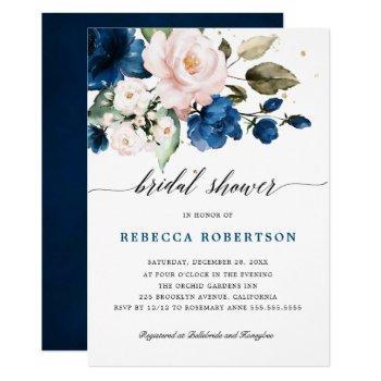 navy blue blush watercolor floral bridal shower invitation
