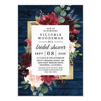navy blue burgundy blush gold rustic bridal shower invitation