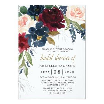 Navy Blue Burgundy Blush Pink Floral Bridal Shower Invitation Front View