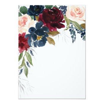 Navy Blue Burgundy Blush Pink Floral Bridal Shower Invitation Front View