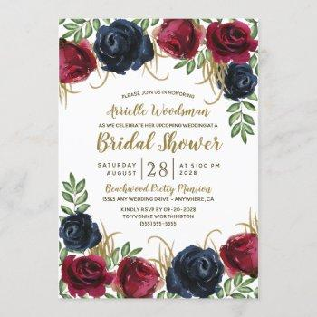 navy blue burgundy fall bridal shower invitations