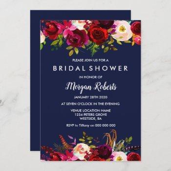 navy blue burgundy floral bridal shower invitation