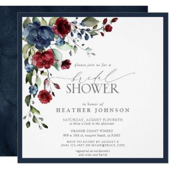 navy blue burgundy floral watercolor bridal shower invitation