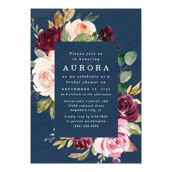 navy blue burgundy gold blush pink bridal shower invitation