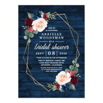 navy blue burgundy gold blush pink bridal shower invitation