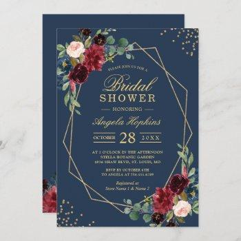 navy blue burgundy red floral modern bridal shower invitation