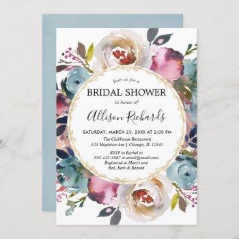 navy blue burgundy rustic floral bridal shower invitation