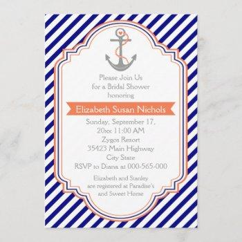 navy blue, coral nautical wedding bridal shower invitation