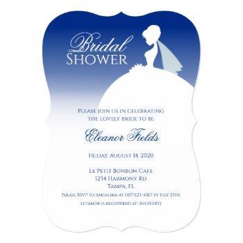 navy blue elegant bridal shower invitation