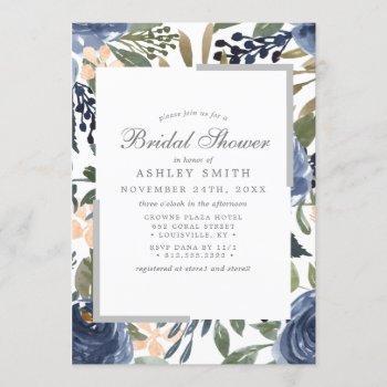 navy blue floral pattern watercolor bridal shower invitation